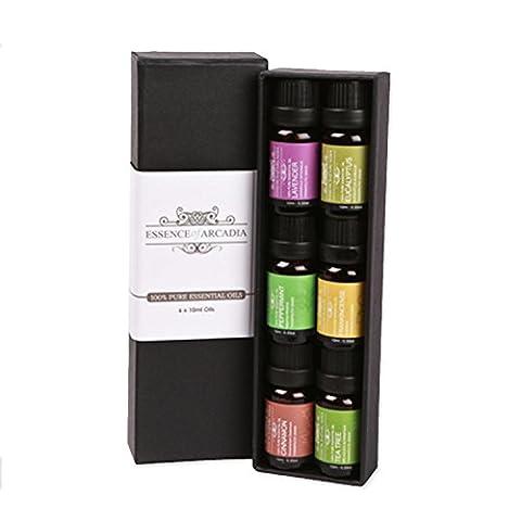 Set de 6 huiles essentielles aromathérapie (10ml), pack échantillon luxe huile qualité 100% thérapeutique (lavande, théier, eucalyptus, encens, cannelle, menthe poivrée)