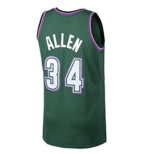 LLZYL NBA 34# All-Stars Ray Allen Heat Team, Cooler Atmungsaktiver Stoff, Klassisch Ärmellos, Herren- Und Unisex-Basketball-Shorts, T-Shirt-Trikot (Grün),L:180cm/75~85kg Ray Allen Teams