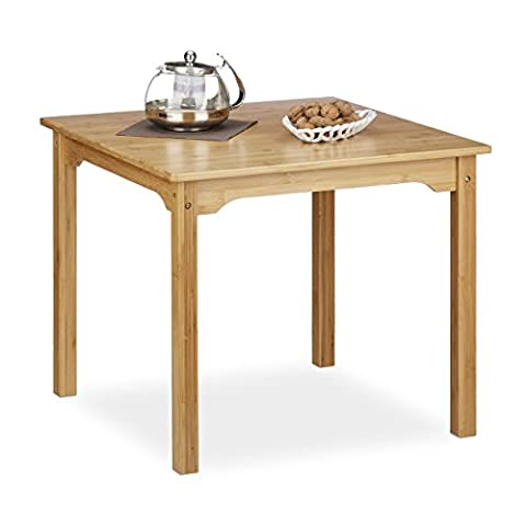 Relaxdays RUSTICO Bamboo Coffee Table, Square, Low, HxWxD: ca 50.5 x 60 x 60 cm, Natural Brown
