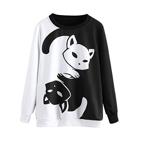 Neuheit-hosen-anzug (Frauenkleidung❀❀ JYJMWomens Cat Printing Langarm Sweatshirt Pullover Tops Bluse (XXL, Schwarz))