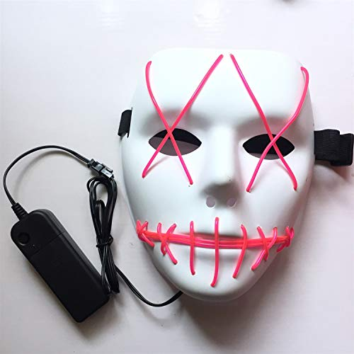LED Halloween Maske - Halloween Scary LED Glow Maske, für Kostüm Party Prop Show (Color : Red)