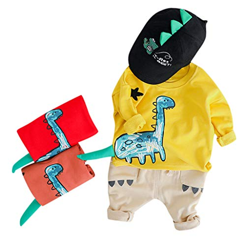 Baby Jungen Kleidung,TTLOVE Kleinkind Kinder Sweatshirt Dinosaurier Cartoon Pullover Lange Ärmel Tops+Lange Hosen Jeans Outfits Babykleidung Set(Gelb,(90 cm,18-24 Monate))