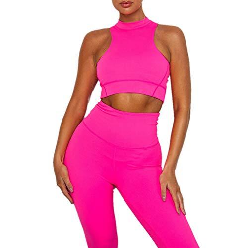 Morbuy-Shop Frauen Sportanzug 2 Teilig, Fansu 2 Teile/Satz Elastizität Sport Tops Yoga Jogging Leggings Capri Fitness Laufende Outfits Activewear Trainingsanzug Set (S,Fluoreszierendes Rosa) Rosa Capri-outfit