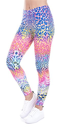 Frauen Disco Kostüm Übergröße - DD.UP Damen Strumpfhose Sport Print Yoga Leggings Workout Fitness Running Pants Mehrfarbig One Size