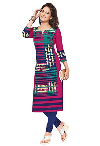 Ishin Cambric Cotton Pink Printed Party Wear Wedding Wear Casual Daily Wear Office Wear Festive Wear Bollywood New Collection Latest Design Trendy Women\'s Unstitched Kurti/Kurta Fabric
