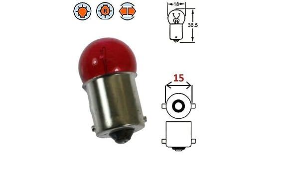 12V 10W BA15S ROSSO AUTO MOTO SCOOTER LAMPADINA FARO LAMPADA ANTERIORE INDICATORE LAMPEGGIANTE LUCE INCANDESCENZA