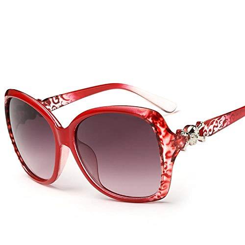 Frauen-Sonnenbrille Koreanische Version fahren fahren Sonnenbrille Farbfilm reflektierende Sonnenbrille weiblichen großen Kasten langes Gesicht rundes Gesicht Sonnenbrille nach und nach Tee-Box, nach