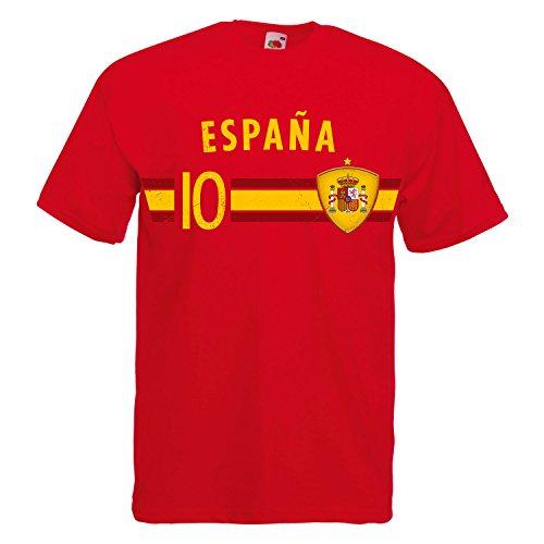 Fußball WM T-Shirt Fan Artikel Nummer 10 - Weltmeisterschaft 2018 - Länder Trikot Jersey Herren Damen Kinder Spanien Espana Spain M