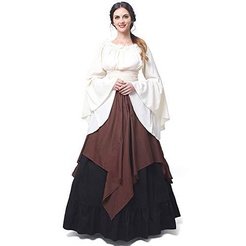 Abaowedding Damen Mittelalter Kleid Retro Renaissance Kostüme Irische Trompete Ärmel Rundhalsausschnitt Bauernkleid Langes Kleid - Bronze - Large