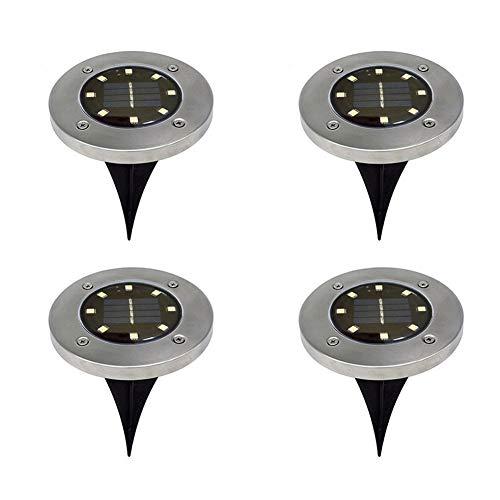 Rocita 4 Stück LED Solar Power Buried Light Edelstahl Bodenlampe Outdoor Wege-Licht Spot Lampe mit 8 LED für Hof, Garten, Rasen, Landschaft - Weiß