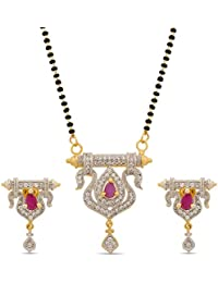 The Luxor Punk & White Gold Plated Mangalsutra With Earrings Set For Women