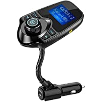 Innoo tech FM Transmitter, Wireless In-Car Bluetooth FM Transmitter Radio Adapter Car Kit with 1.44 Inch Display and USB Car Charger -Black