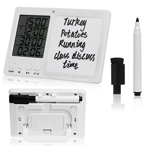 YYGIFT ® 4-fach Digitaler Küchentimer Küchenuhr Elektronischer Timer Eieruhren mit der Weißwandtafel Schreibstift Radierschwamm Vier Kanälen beim Lernen und in der Küche