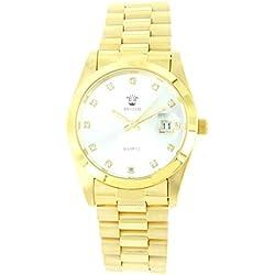 Damen-Armbanduhr Stahl Gold Diamanten CZ GG Luxe 1807