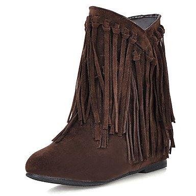 ZJJ Bottes femmes bottes de neige l'hiver / Round Toe robe Wedge talon Tassel noir / marron / jaune / Beige d'autres Brown