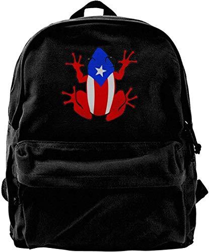 wergod Canvas Backpack Puerto Rico Rican Frog Rucksack Gym Hiking Laptop Shoulder Bag Daypack for Men Women -