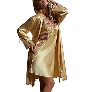 Amybria Frauen Seide aus Spitze Langarm Pyjama Kleid 6Farben Gr. X-Small, Gelb