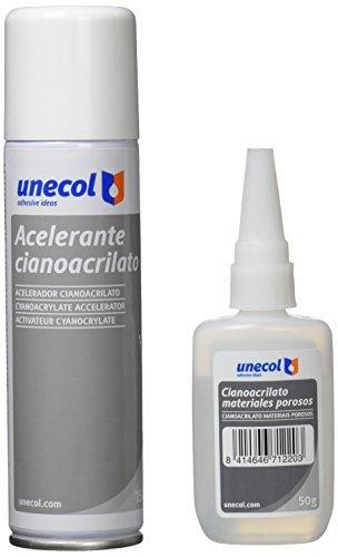 Unecol 7156 - Kit acelerante + cianoacrilato para materiales porosos (botella, 50 g + 150 ml), color transparente