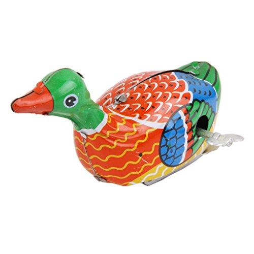 Hellery Vintage Bunte Wind Up Schwimmen Ente Zinn Spielzeug Mechanische Sammler Geschenk - Zinn Wind-up Spielzeug