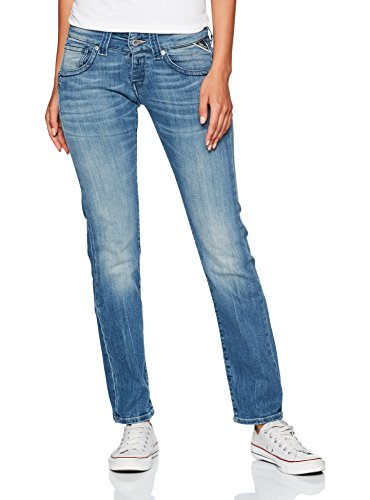Replay Damen Straight Jeans Newswenfani, Blau (Blue Denim 9), W28/L32 (Herstellergröße: 28) (Relaxed Jeans Fit Damen)