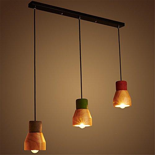 Larsue Retro Loft Creative Restaurant Zement Anhänger Licht -3 Farbe/Persönlichkeit Einfache Coffee Shop Wohnzimmer Bar Holz Pendelleuchte Lampe 70cm (Europa Drei-licht-anhänger)