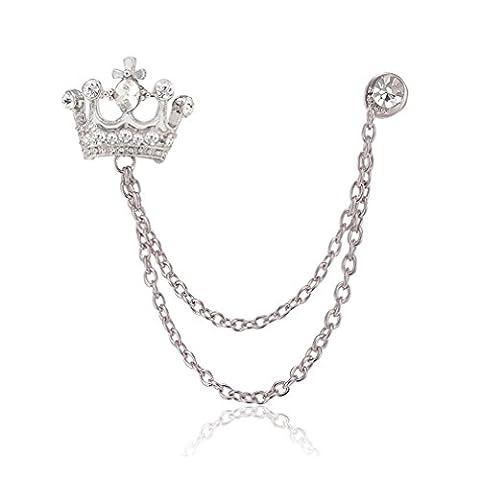 Sewanz Men's Diamante Silver Tone Crown Lapel Stick Brooch Pin Tassel Chain for Suit