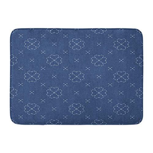 Sashiko-designs (Goodshope Fußmatte für drinnen und draußen, Moderne Interpretation von Sashiko, traditioneller japanischer Handarbeit, auf dunkelblauem Denim, Bestickt, Rutschfester Teppich, 40,6 x 61 cm)