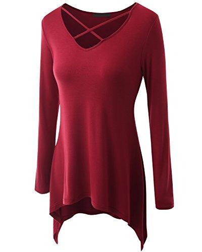 Jusfitsu Femme Tunique Coton Casual Lâche Col en V Tops à Manches Longues Grande Taille Rouge