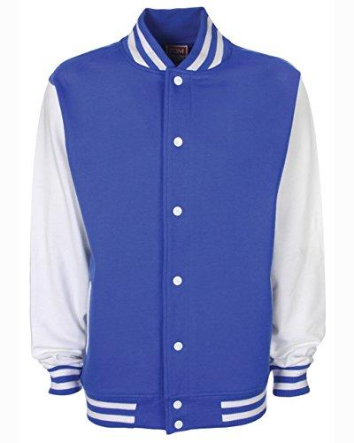 Fdm, giacca unisex stile college, in cotone pesante Royal/White