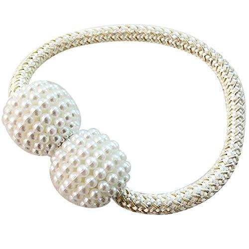 longyitrade - Soporte magnético para Cortinas con Cuentas de Perlas sintéticas, decoración del hogar