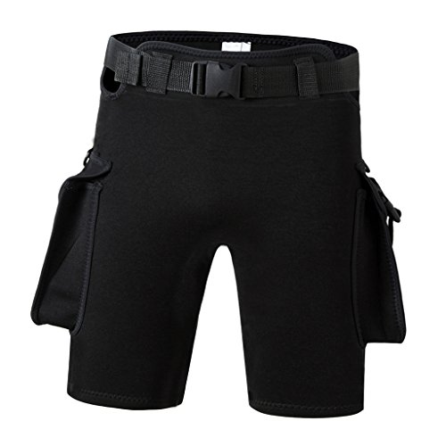 Sharplace Herren Neopren Shorts Neoprenhose Badehose Wassersport Kurze Hose mit Tasche Gürtel - Schwarz, XXL