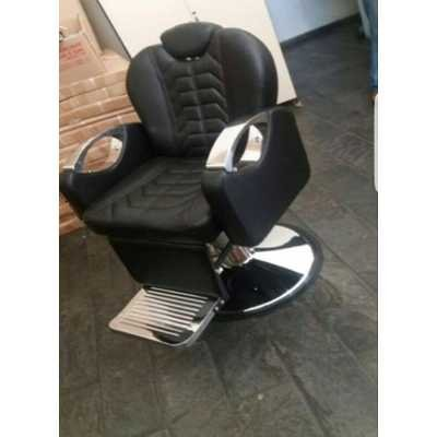 Sedia poltrona mod.of-03 parrucchiere barbiere professionale reclinabile, alzabile, ecopelle nera