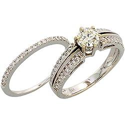 Gabriella Gold - Alianza de oro blanco con diamante