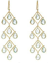 Gehna 18KT Yellow Gold and Topaz Drop Earrings for Women