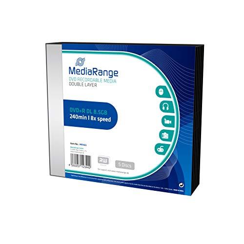 MediaRange MR465 Rohlinge und Speichermedien DVD+R Double Layer 8, 5G, 240min 8X Speed, Slimcase Pack 5