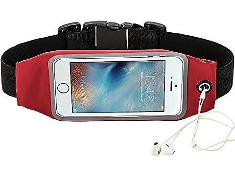 Ceinture de course à pied ACT résistant à la transpiration réfléchissante pour iPhone 6S/6Plus Samsung Galaxy S NOTE Fenêtre pour l'écran tactile Ceinture de sport universelle avec rallonge supplémentaire 11,9cm/14cm, Red 4.7 Inches