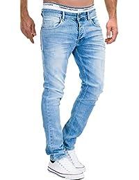 MERISH Vaqueros para Hombre Pantalones Straight Fit con costuras decorativas aspecto poco destruido casual y moderno Modell J9156 jb7yL