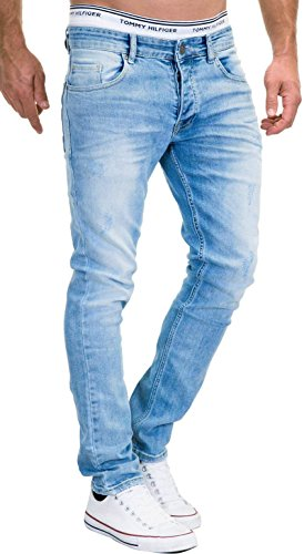 MERISH Jeans Herren Slim Fit Stretch Hose Jeanshose Denim 9148 (30-32, 9148 Hellblau) Vintage Blue Denim