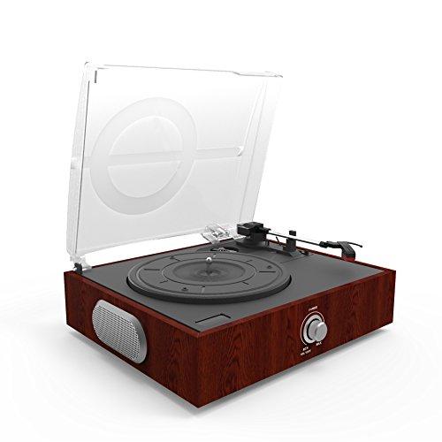 Plattenspieler mit Lautsprecher,3 Geschwindigkeiten Riemenantrieb Bluetooth Retro Schallplattenspieler, mit USB Anschluss,Vinyl zu MP3 Aufnahmefunktion,Cinch-Line Out