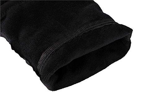 Wealsex Botte Suédé Souple Noir Elastique Plate Talon Bloc Bout Ronde Bottes au-dessus du genou Fourrées Intérieur Mode Femme noir avec fourré intérieur