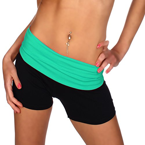 Damen Fitness YOGA Shorts Hot Pants Sportshorts Laufhose Radlerhose Baumwolle Uni Farben - Made in Italy Schwarz/Mint