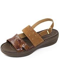 Padders sandalia de cuero de las mujeres 'Cameo' | Anchura extra grande EE| Cuerno de zapato libre