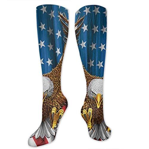 UYTGYUHIOJ Graduated Football Socks Athletic Tube Stockings - American Eagle USA Flag Mid-Calf Socks -