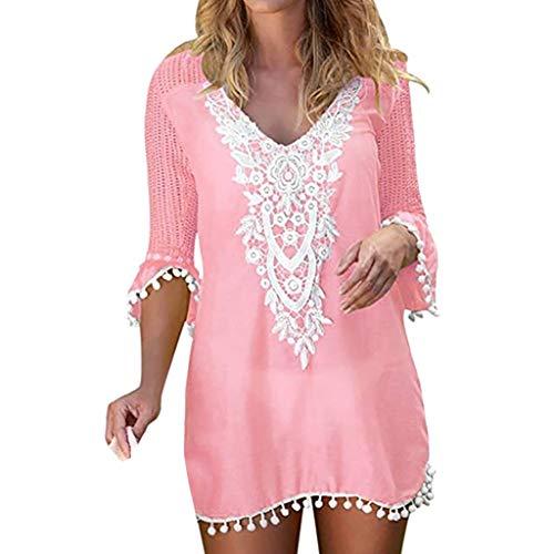 Amphia Damen Bikin Blouse,Frauen Pom Pom Trim Quaste Lace Crochet Bademode Strand vertuschen - Crochet Trim Cardigan