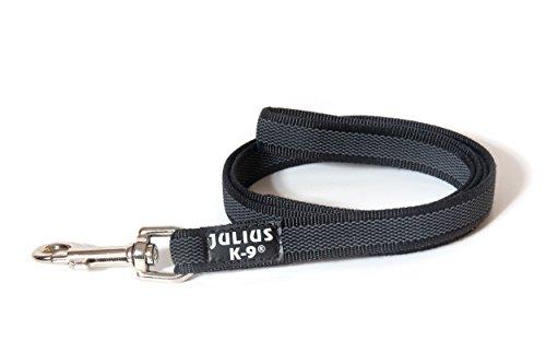 Artikelbild: JULIUS-K9, 216GM-1,2 Color & Gray gumierte Leine, 20 mm x 1,2 m mit Schlaufe, maximal für 50 kg Hunde, schwarz-grau