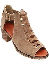 Gtagain Botines Romano Zapatos Mujer - Señoras Cuero Punta Abierta Zapatos de Tacón Medio Informal Oficina