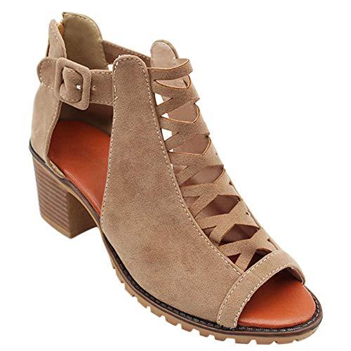 Gtagain Botines Romano Zapatos Mujer - Señoras Cuero Punta Abierta Zapatos de Tacón Medio Informal...