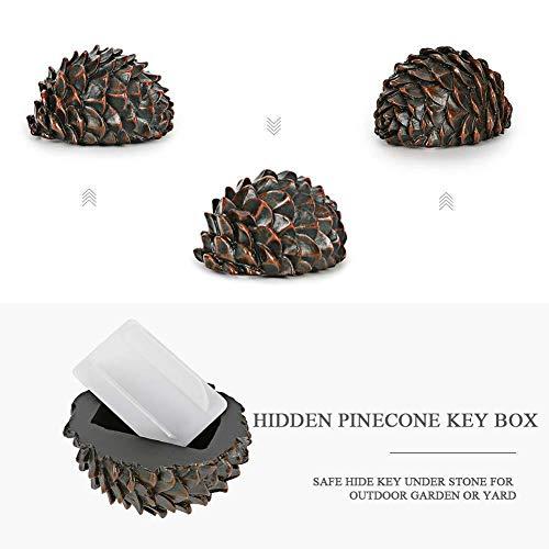 TARTIERY Clave de Seguridad Escondido Hueco Secreto Oculto Fake Rock Pinecone Key Storage Box Garden Decor Regalo de Seguridad Ideal Regalo Escondido Hueco