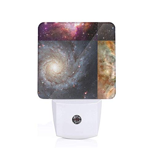 Led Night Light Nebulae U0026 Galaxies Outer Space Patchwork Cheater Quilt Blocks Auto Senor Dusk to Dawn Night Light Plug in for Baby, Kids, Children's Adults Room -