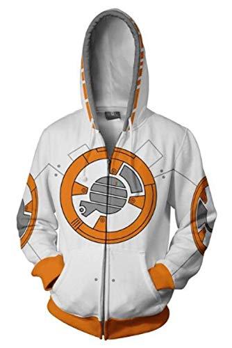 MingoTor Kapuzenpullover BB-8 Star Wars Sweatshirt Hoodie Print Kapuzenpulli Tops Jacke Pullovershirt Sweatjacke Outwear Oberteile Hoodies Jumper Kaputzen (Bb 8 Kostüm Hoodie)